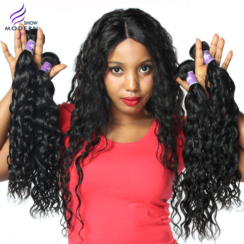Modern Show Hair Brazilian Water Wave Remy Hair Extensions 100% Human Hair Weave Bundles 1PCS 10-28 inch Black Free Shipping