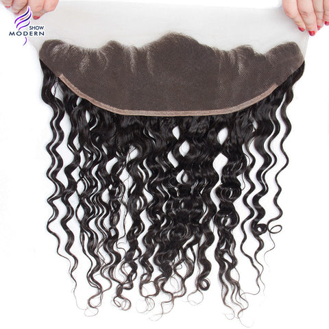 Modern Show 13x4 Water Wave Lace Frontal Closure With Baby Hairs 130% Density 100% Remy Human hair Weave Free Shipping 1B Color