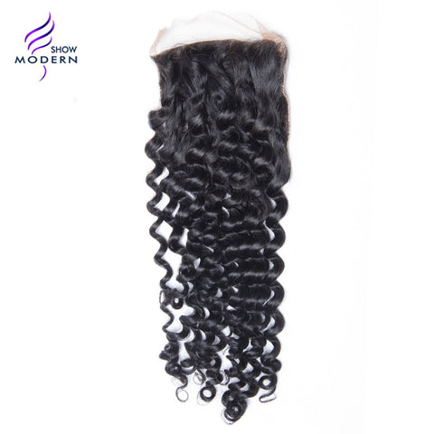 Modern Show Curly Remy Hair Free Part Lace Closure 100% Human Hair Natural Black 1B Free Shipping