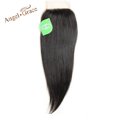 ANGEL GRACE HAIR Straight Peruvian Lace Closure 10-22 Inch Natural ColorRemy Hair 4*4 Free Part Lace Human Closure Free Shipping