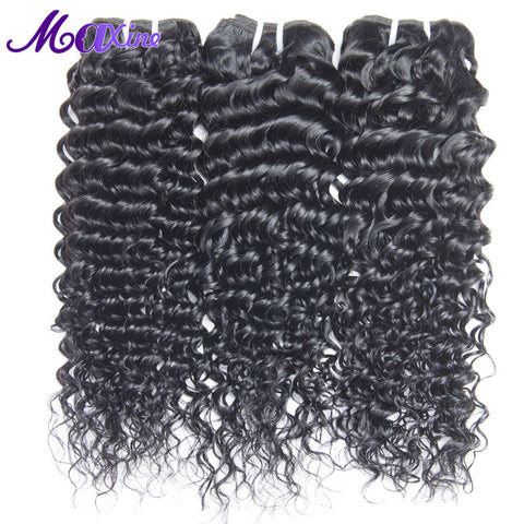 "Maxine Hair Products Brazilian Deep Curly Hair 1B 100% Human Hair Extensions Non Remy Hair Weave Bundles 10""~28"" Inch No Tangle"