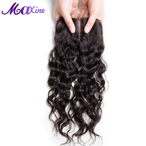 "Maxine Hair Products Middle Part Style 4""x4"" Water Wave Lace Closure Real Remy Human Hair 130% Density Free Shipping"
