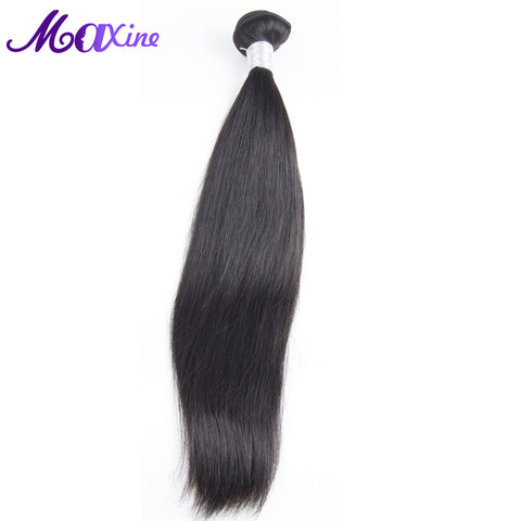 Maxine Hair Peruvian Straight Hair Weave Bundles 10~28inch Non Remy Human Hair Extensions Single Bundle Color 1B Thick And Full
