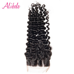 "Alibele Free/Middle/Three Parting Malaysian Curly Hair Lace Closure Bleached Knot 4""x 4"" Swiss Lace 100% Remy Human Hair Weaving"