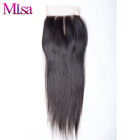 "Mi Lisa Peruvian Straight Hair Three Part 4""x4"" Lace Closure 100% Human Hair Free Shipping Remy Hair"