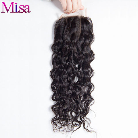 4X4 Lace Closure Brazilian Wet and Wavy Water Wave Closure Mi Lisa Remy Human Hair Closure Three Way Part