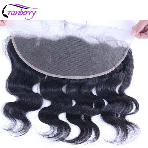 "Cranberry Hair Brazilian Body Wave 13""x4"" Lace Frontal Closure Free Part Medium Brown Lace Natural Color 100% Non-Remy Hair"