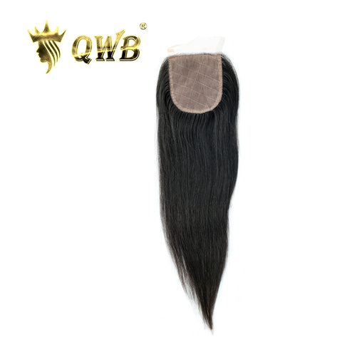 QWB Silk Base Closure Straight 12''/14''/16'' Brazilian Virgin Hair Nature Color Free shipping