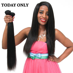"Today Only Brazilian Straight Hair Non-remy 100% Human Hair Bundles Natural Black Color Tissage Bresilienne 8""-28"" Free Shipping"