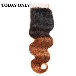 "Today Only Ombre Brazilian Human Hair Body Wave Lace Closure 4x4 Non-remy Two Tone Human Hair Closure 1b 30 Free Shipping 8""-20"""