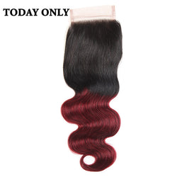 "Today Only Non-remy Ombre Burgundy Brazilian Body Wave Human Hair Lace Closure 8"" to 20"" Two Tone 1b/99j 4x4 Swiss Lace Closure"