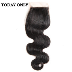 "Today Only Body Wave Brazilian Human Hair Lace Closure Free Part Non-remy 4x4 Swiss Lace Natural Black Color 8-20"" Free Shipping"