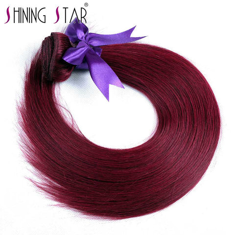 Shining Star 99J Straight Hair Bundles Peruvian 100% Human Hair Weft Burgundy Non Remy Hair True To Length 1 Pcs 10-26 Inches