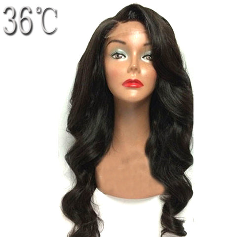 36C Body Wave Human hair Lace Front Wig 100% Peruvian Hair Pre Plucked Wig with Natural Hairline Baby Hair Non Remy Hair