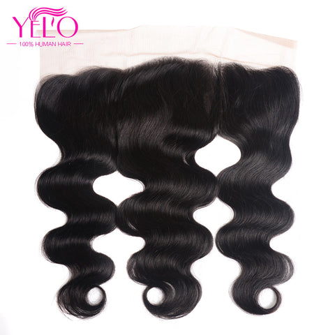 Yelo Hair Peruvian Body Wave Lace Frontal 13*4 Ear To Ear Free Part 130% Density Lace Closure Non Remy Human Hair Free Shipping