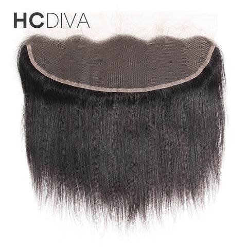 HCDIVA Peruvian Hair Lace Frontal Closure Straight Human Hair Clsoure 13x4 Ear To Ear Non Rmey Frontal With Baby Hair 8-18 Inch