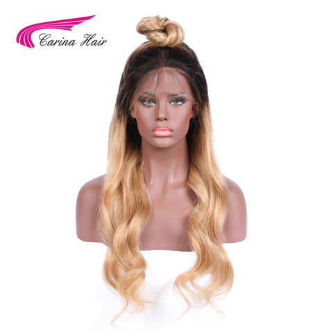 Carina Hair 150% Density Human Hair Full Lace Wigs Wavy Ombre 1b 27 Color Brazilian Long Hair Wigs For Black Women Free Part