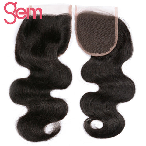"Brazilian Body Wave Lace Closure Size 4""x4"" Free Part 100% Remy Human Hair Can Be Dyed"