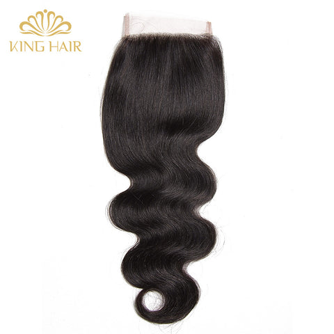 "King Body Wave Remy hair Lace Closure 1pc 8""-20"" free part 4*4 swiss lace Brazilian Human Hair Wavy Closure"