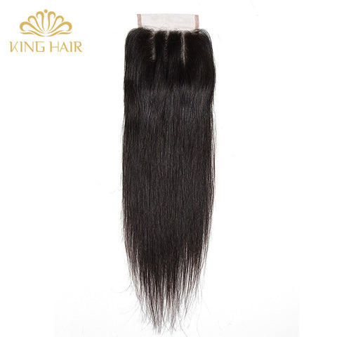 King hair Malaysian Straight Remy hair Lace Closure three part 4*4 bleached knots swiss lace 100% human hair closure