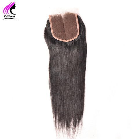 Vallbest 100% Human Hair Straight With Lace Closure 4X4 Natural Black 1B Free Part Knots Blenched Non Remy Hair 120% Density
