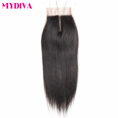 Mydiva straight human hair closure Brazilian Remy Hair 4x4inch Lace Closure middle Part Natural Color 8-18inch 130% density