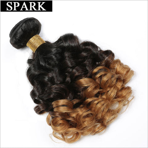 "Spark 1b/4/27 Ombre Brazilian Bouncy Curly Hair Remy Human Hair Extensions 12''-26"" One Bundle 3 Tone Free Shipping No Tangle"