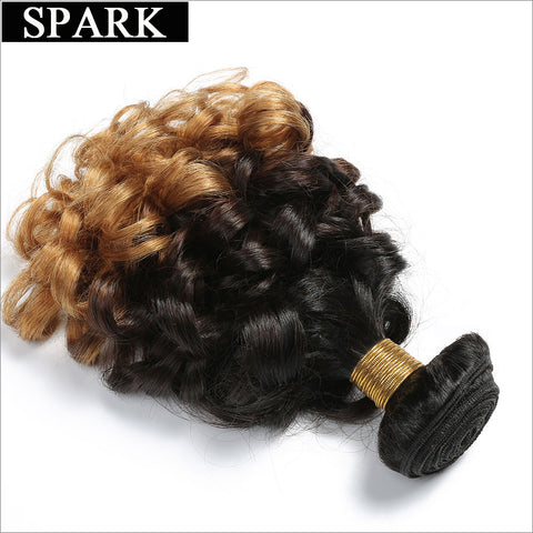 Spark 1b/4/27 3 Tone Ombre Malaysian Bouncy Curly Hair Bundles 12-26 inch One Bundle Remy Human Hair Extensions Free Shipping