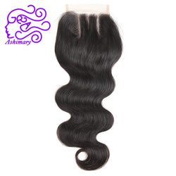 Ashimary Hair 4*4 Lace Closure Brazilian Hair Body Wave 100% Human Hair Natural Color Remy Hair Three Part Closure Free Shipping