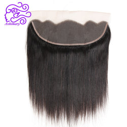 Ashimary Peruvian Straight Hair Lace Frontal Closure 13x4Inchs Remy Hair Closure Natural Color 100% Human Hair Free Shipping