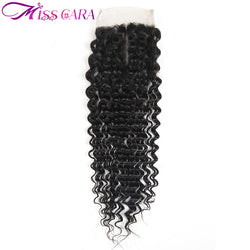 Miss Cara Brazilian Deep Wave Closure 4x4 Middle Part Remy Hair 100% Human Hair 10-20inch Bleached Knots Free Shipping