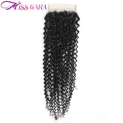 Miss Cara Brazilian Kinky Curly Lace Closure 4x4 Free Part remy 100% human hair Light Brown Swiss Lace 10-20 inch free part
