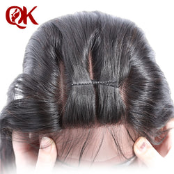 QueenKing Hair Brazilian Silky Straight Lace Closure 3 Part 5X5  Remy Hair Closure Natural Color French Lace With Baby Hair