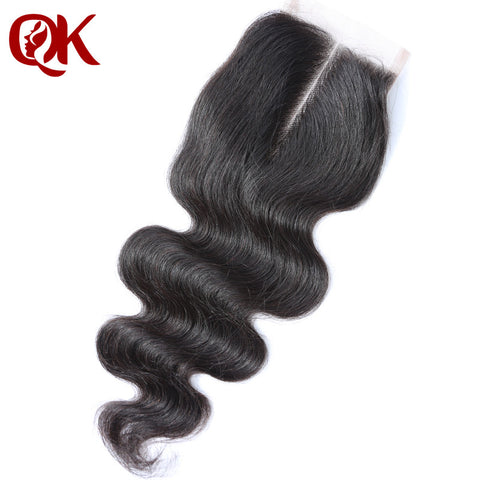"QueenKing Hair Brazilian Lace Closure Body Wave Remy Hair 3.5""x 4"" French Lace 10-18 Inches Natural Color Human Hair Closure"