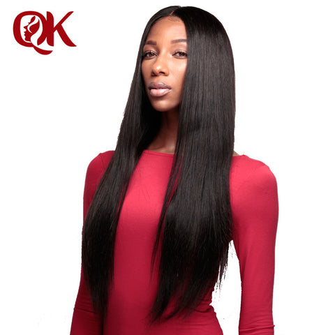 QueenKing Hair Pre Plucked 13x6 Lace Frontal Brazilian Remy Human Hair Silky Straight 10-18 inches Bleached Knots Natural Color