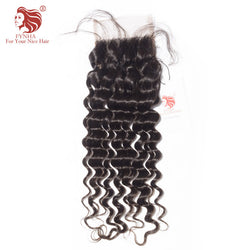 [FYNHA] Peruvian Lace Closure Deep Wave Virgin Hair Free Part 4''x 4'' 100% Human Hair Free Shipping
