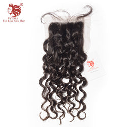 [FYNHA] Peruvian Virgin Hair Lace Closure Bouncy Curly 100% Human Hair Free Part 4''x 4'' Free Shipping