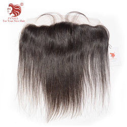 [FYNHA]Brazilian Lace Frontal Closure Straight Virgin Hair 13*4 Plucked Natural Hairline Bleached Knots 100% Human Hair