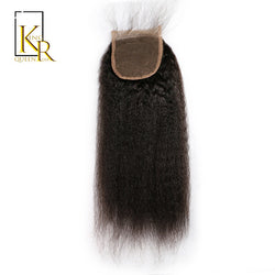 King Rosa Queen Kinky Straight Brazilian Lace Closure 4x4 Free Part 100% Remy Human Hair Closure Bleached Knots With Baby Hair