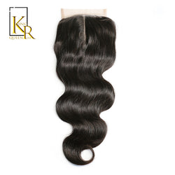 King Rosa Queen Brazilian Body Wave Lace Closure Middle Part 4x4 Human Hair Closure With Baby Hair Medium Brown Lace