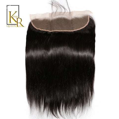 King Rosa Queen Brazilian Remy Hair Lace Frontal Closure Straight 13x4 Bleached Knots With Baby Hair 100% Human Hair Ship Free