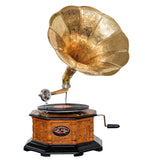 Heritage II-Octagonal Carved Wooden Gramophone-LPVC105-The Best Handy Crafts