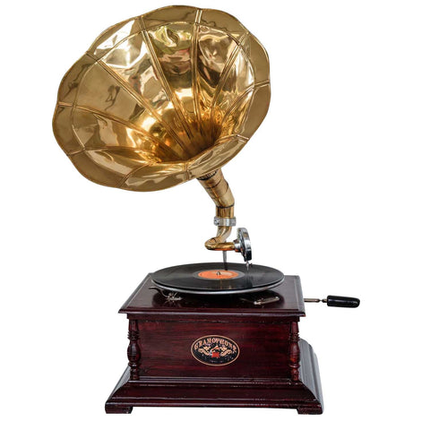 Heritage II-Mahogany & Golden Gramophone-LPVC107-The Best Handy Crafts