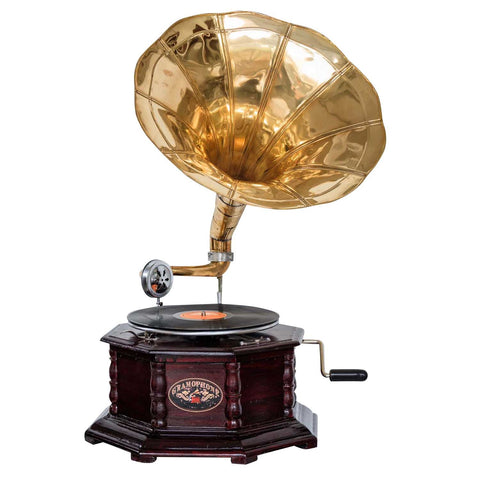 Heritage II-Mahogany & Golden Octagonal Gramophone-LPVC108-The Best Handy Crafts