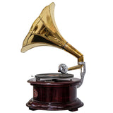 Heritage II-Mahogany & Golden Circular Gramophone-LPVC106-The Best Handy Crafts