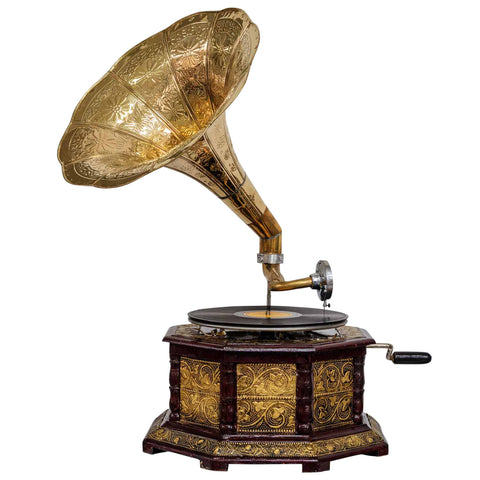 Octagonal Etched Golden Horn Gramophone