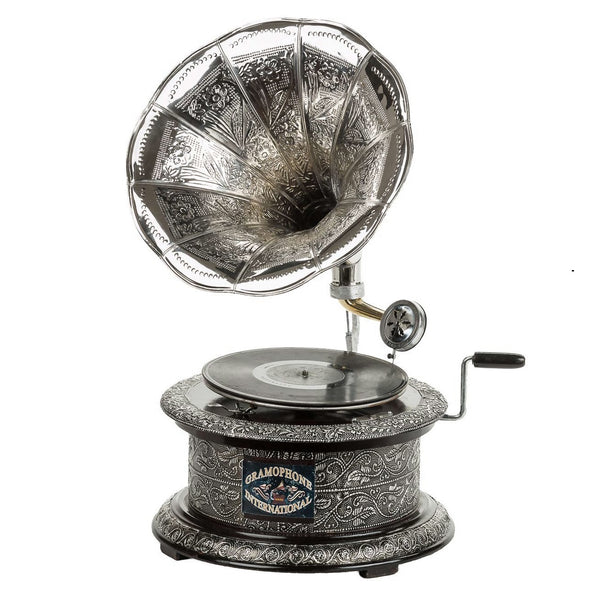 Circular Etched Silver Horn Gramophone-The Best Handy Crafts