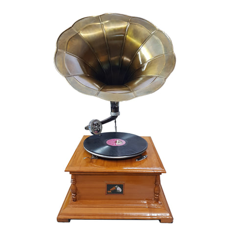 Timber Base With Bronzed Horn Gramophone