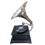 Black Base With Polished Chrome Horn Gramophone-The Best Handy Crafts