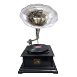 Black Base With Polished Chrome Horn Gramophone - The Best Handy Crafts